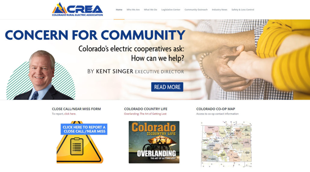 CREA website home page screen shot