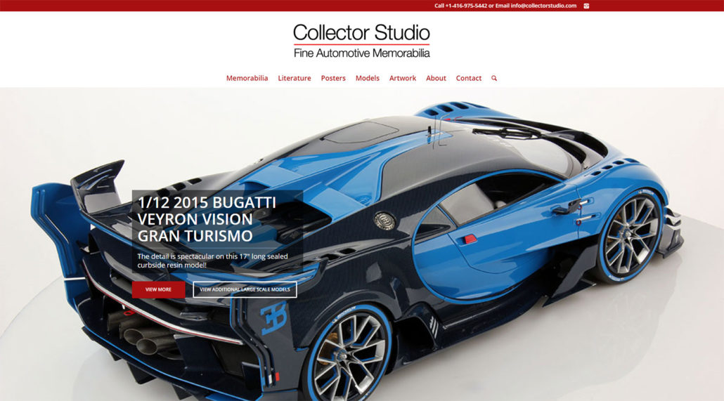 Collector Studio website home page screen shot
