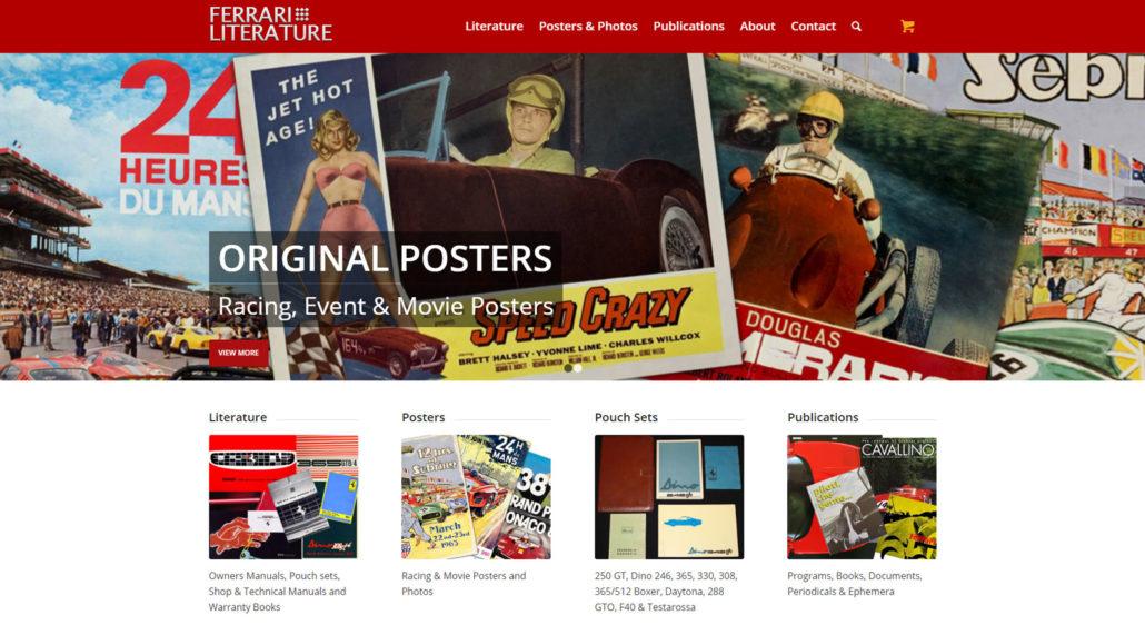 Ferrari Literature website home page screen shot
