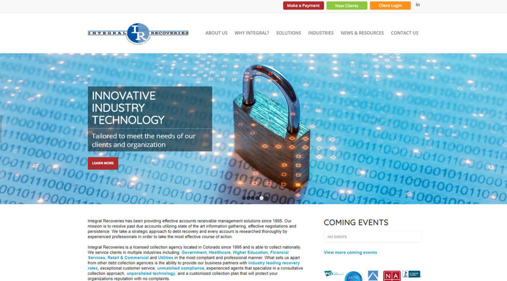 Integral Recoveries website home page screen shot