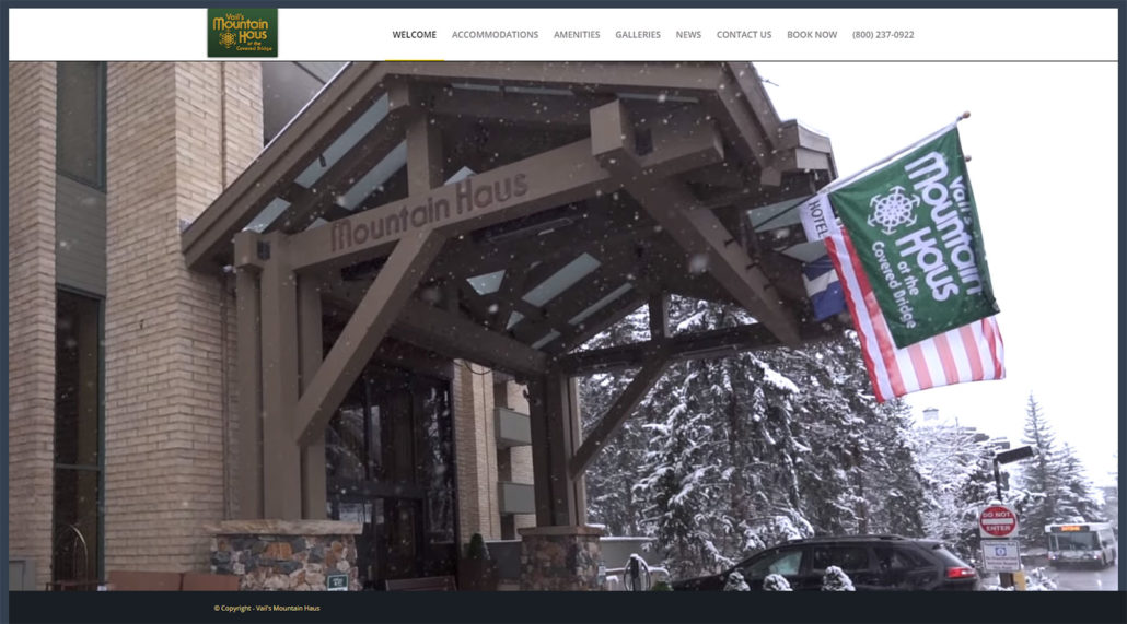 Mountain Haus website home page screen shot