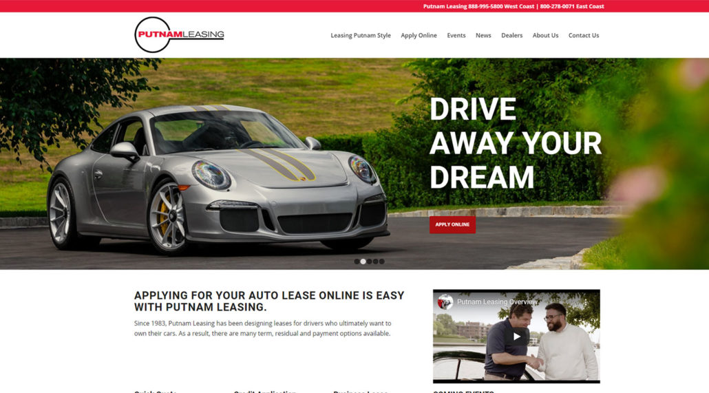 Putnam Leasing website home page screen shot